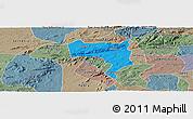 Political Panoramic Map of Pesqueira, semi-desaturated