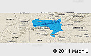 Political Panoramic Map of Pesqueira, shaded relief outside