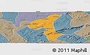 Political Panoramic Map of Petrolandia, semi-desaturated