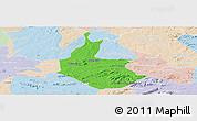 Political Panoramic Map of Salgueiro, lighten