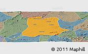 Political Panoramic Map of Sertania, semi-desaturated