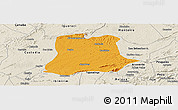 Political Panoramic Map of Sertania, shaded relief outside