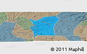 Political Panoramic Map of Fronteiras, semi-desaturated