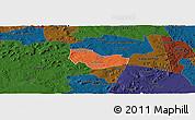 Political Panoramic Map of Ipiranga Piaui, darken