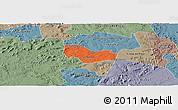 Political Panoramic Map of Ipiranga Piaui, semi-desaturated