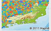 Physical 3D Map of Rio de Janeiro, political outside