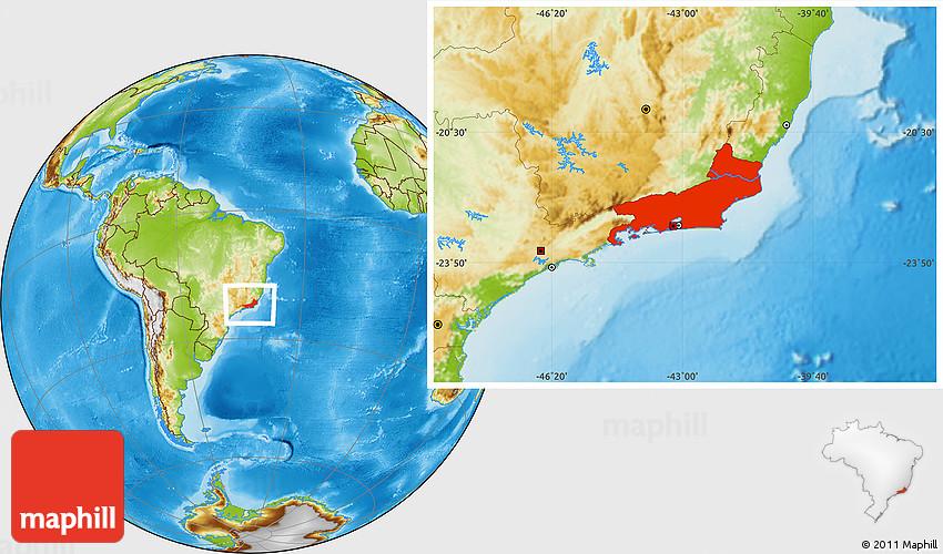 Physical Location Map of Rio De Janeiro