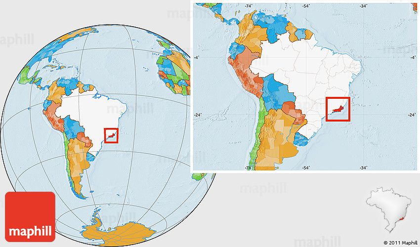 Political Location Map of Rio De Janeiro highlighted country