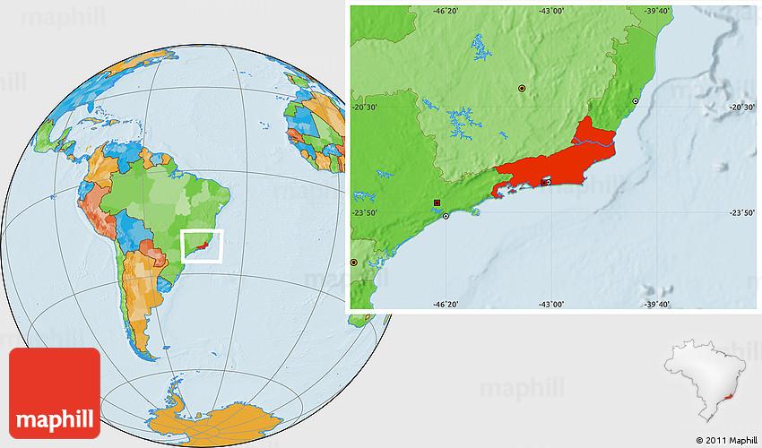 Political Location Map of Rio De Janeiro