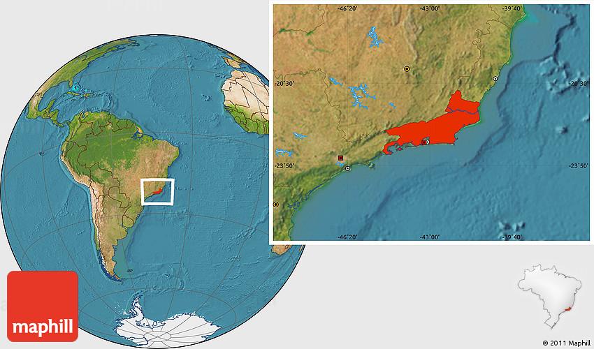 Satellite Location Map of Rio De Janeiro