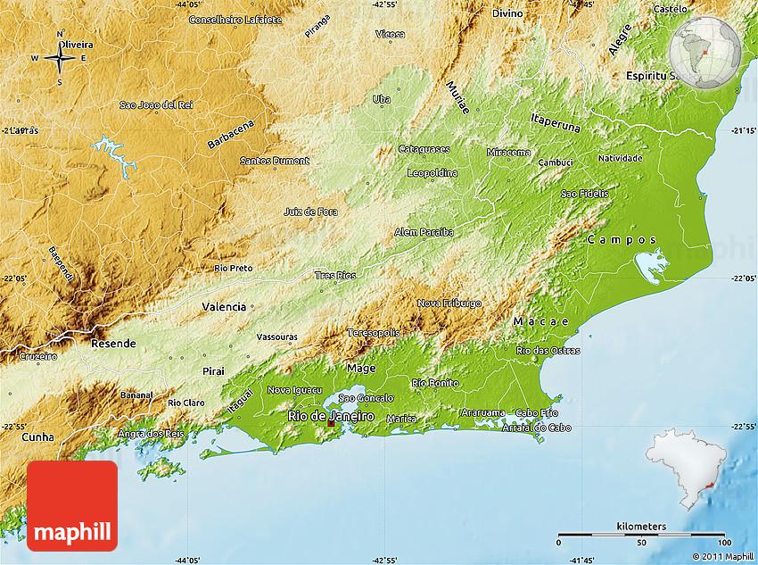 Physical Map of Rio De Janeiro