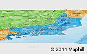 Political Shades Panoramic Map of Rio de Janeiro