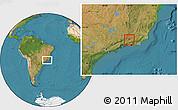 Satellite Location Map of Rio das Flores