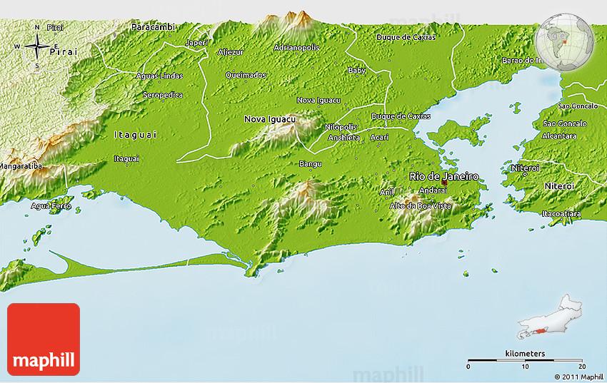 Physical 3D Map of Rio De Janeiro