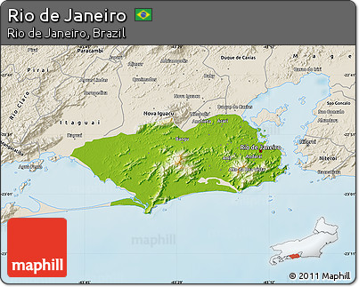 Free Physical Map of Rio De Janeiro, shaded relief outside