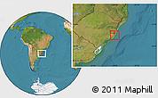 Satellite Location Map of Rio Graande do Sul