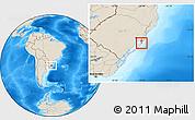 Shaded Relief Location Map of Rio Graande do Sul