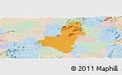 Political Panoramic Map of Caico, lighten