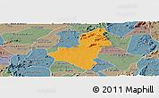 Political Panoramic Map of Caico, semi-desaturated