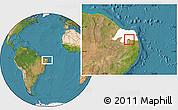 Satellite Location Map of Coronel Ezequiel, highlighted parent region