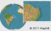 Satellite Location Map of Coronel Ezequiel