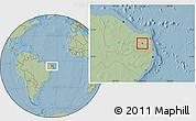 Savanna Style Location Map of Coronel Ezequiel, hill shading