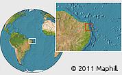 Satellite Location Map of Nisia Floresta