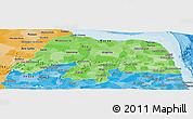 Political Shades Panoramic Map of Rio Grande do Norte