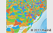 Political 3D Map of Rio Grande do Sul