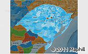 Political Shades 3D Map of Rio Grande do Sul, darken