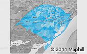 Political Shades 3D Map of Rio Grande do Sul, desaturated