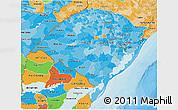 Political Shades 3D Map of Rio Grande do Sul