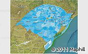 Political Shades 3D Map of Rio Grande do Sul, satellite outside