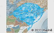 Political Shades 3D Map of Rio Grande do Sul, semi-desaturated