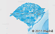 Political Shades 3D Map of Rio Grande do Sul, single color outside