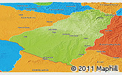 Physical Panoramic Map of Baje, political outside