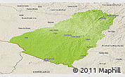 Physical Panoramic Map of Baje, shaded relief outside