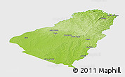 Physical Panoramic Map of Baje, single color outside