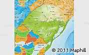 Physical Map of Rio Grande do Sul, political shades outside