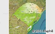 Physical Map of Rio Grande do Sul, satellite outside
