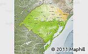Physical Map of Rio Grande do Sul, semi-desaturated