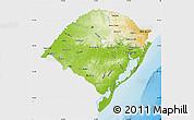 Physical Map of Rio Grande do Sul, single color outside