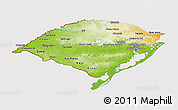 Physical Panoramic Map of Rio Grande do Sul, cropped outside