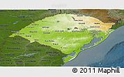 Physical Panoramic Map of Rio Grande do Sul, darken