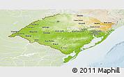 Physical Panoramic Map of Rio Grande do Sul, lighten