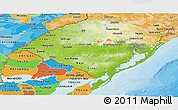 Physical Panoramic Map of Rio Grande do Sul, political shades outside