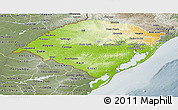 Physical Panoramic Map of Rio Grande do Sul, semi-desaturated