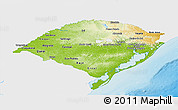Physical Panoramic Map of Rio Grande do Sul, single color outside