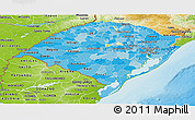 Political Shades Panoramic Map of Rio Grande do Sul, physical outside