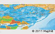 Political Shades Panoramic Map of Rio Grande do Sul